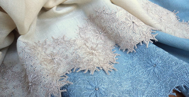 Pashmina Cashmere & Silk Shawl with Embroidered border Style – Fleur