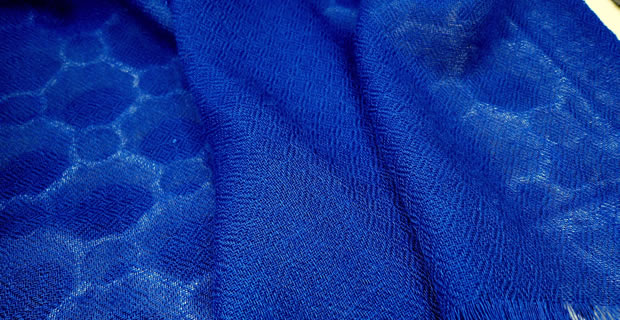 100% Pashmina Cashmere Diamond Weave Shawl - Dark Cobalt